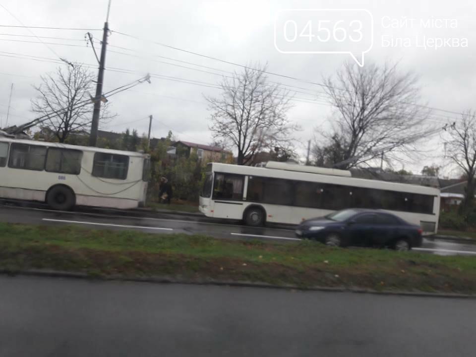 Через обірвані проводи у Білій Церкві вже 2 години стоять тролейбуси, фото-2