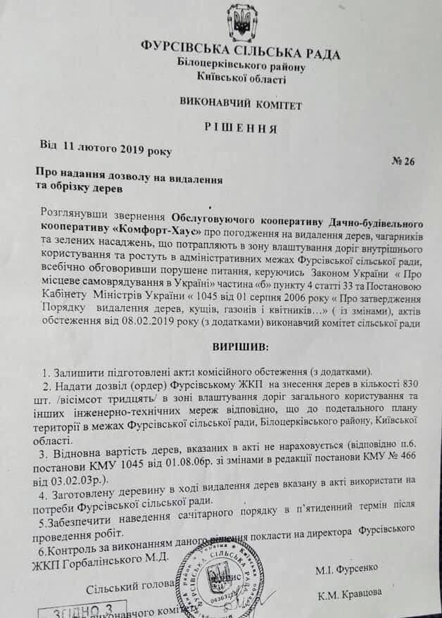 Фурсівська сільська рада надала ордер на вирубку 830 дерев у мікрорайоні Гайок , фото-2